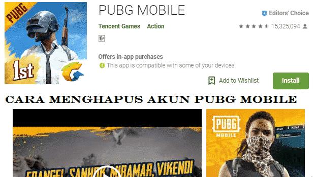 cara menghapus akun pubg mobile